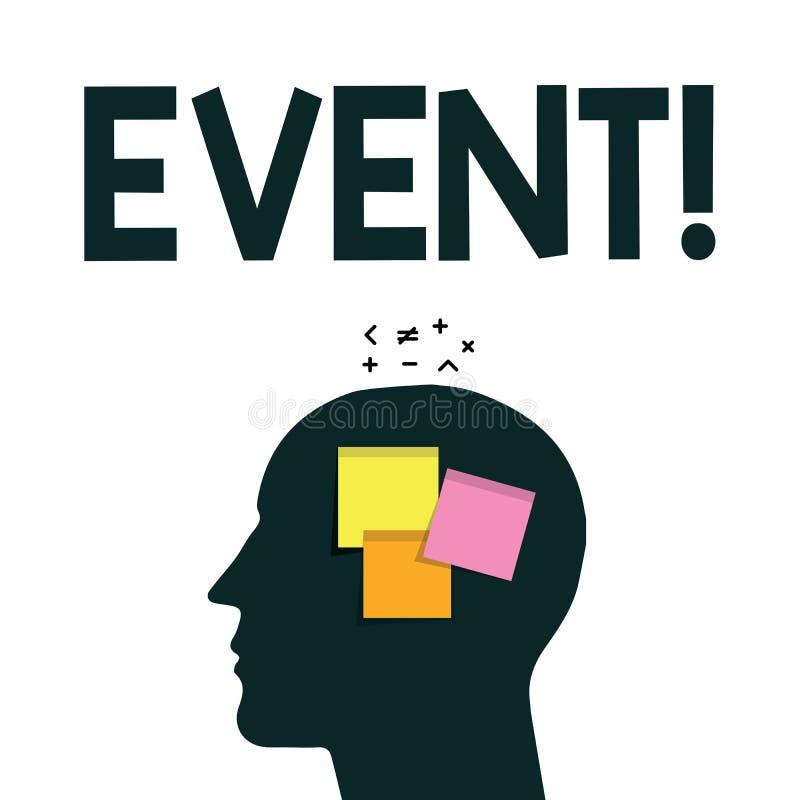 Wortschreibens-Text Ereignis Geschäftskonzept für Sache, die eine besonders von Bedeutung geschieht oder stattfindet lizenzfreie abbildung