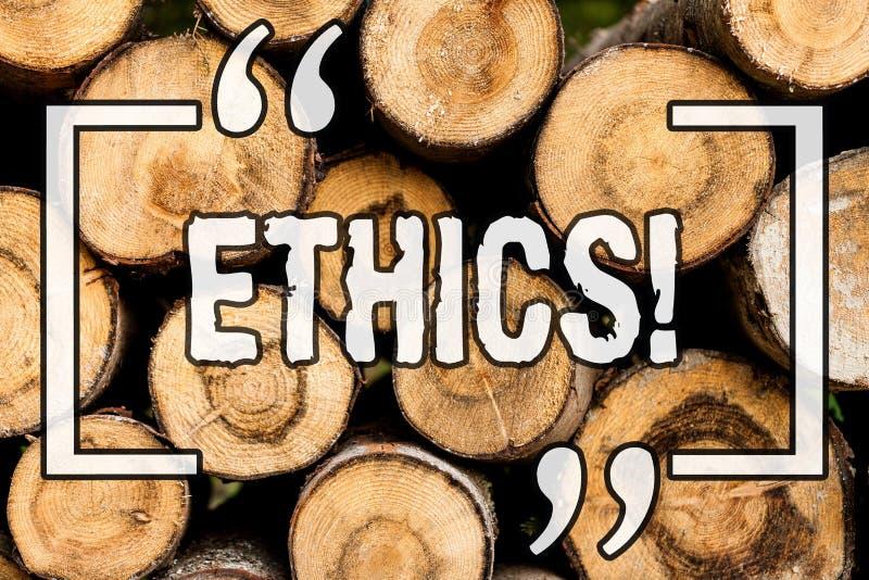 Wortschreibens-Text Ethik Geschäftskonzept für die Instandhaltungsgleichheitsbalance unter anderem, die hölzernen Hintergrund der vektor abbildung