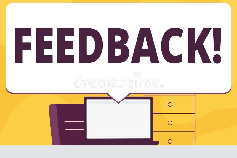 Wortschreibens-Text Feedback Geschäftskonzept für Kunden-Bericht-Meinungs-Reaktions-Bewertung geben einen Wartezurück freien Raum lizenzfreie abbildung