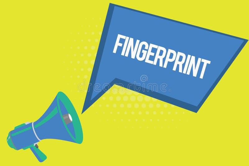 Wortschreibens-Text Fingerabdruck Geschäftskonzept für Eindruck oder Kennzeichen gemacht auf einer Oberfläche durch eine zeigende vektor abbildung