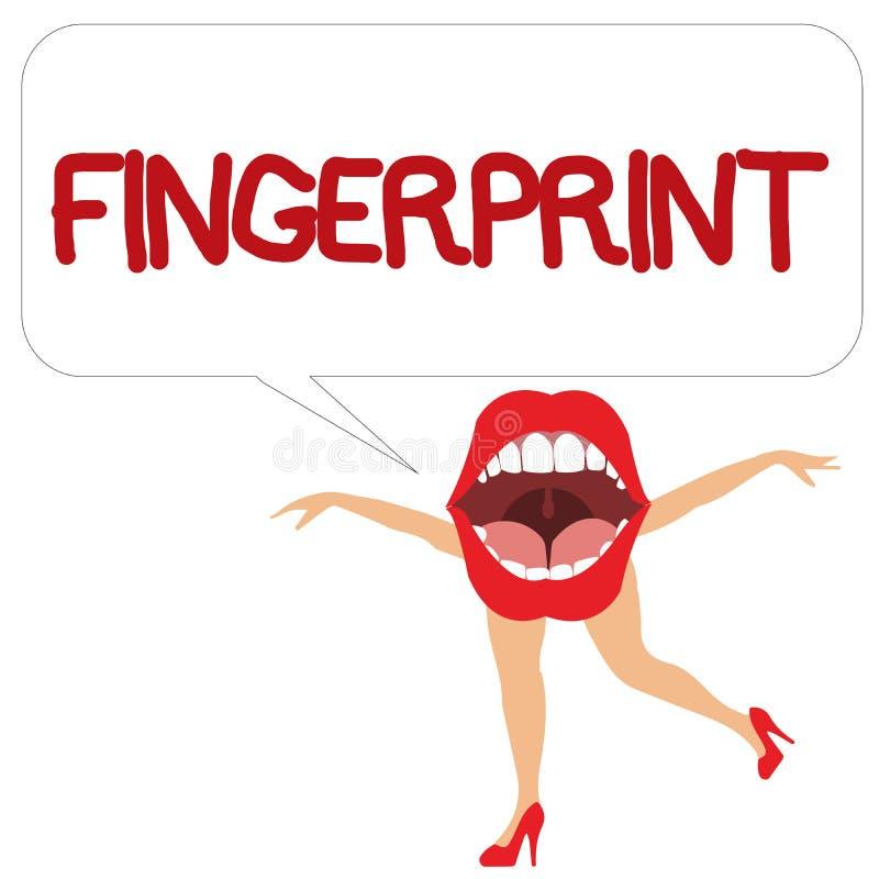Wortschreibens-Text Fingerabdruck Geschäftskonzept für Eindruck oder Kennzeichen gemacht auf einer Oberfläche durch eine zeigende lizenzfreie abbildung