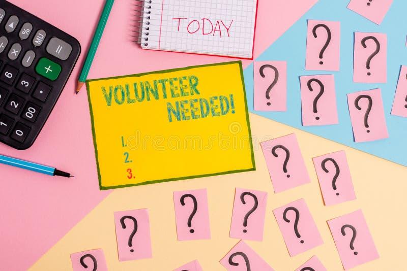 Wortschreibens-Text Freiwilliger ben?tigt Geschäftskonzept für Bedarfsarbeit für Organisation, ohne Mathematikmaterial gezahlt zu stockbilder