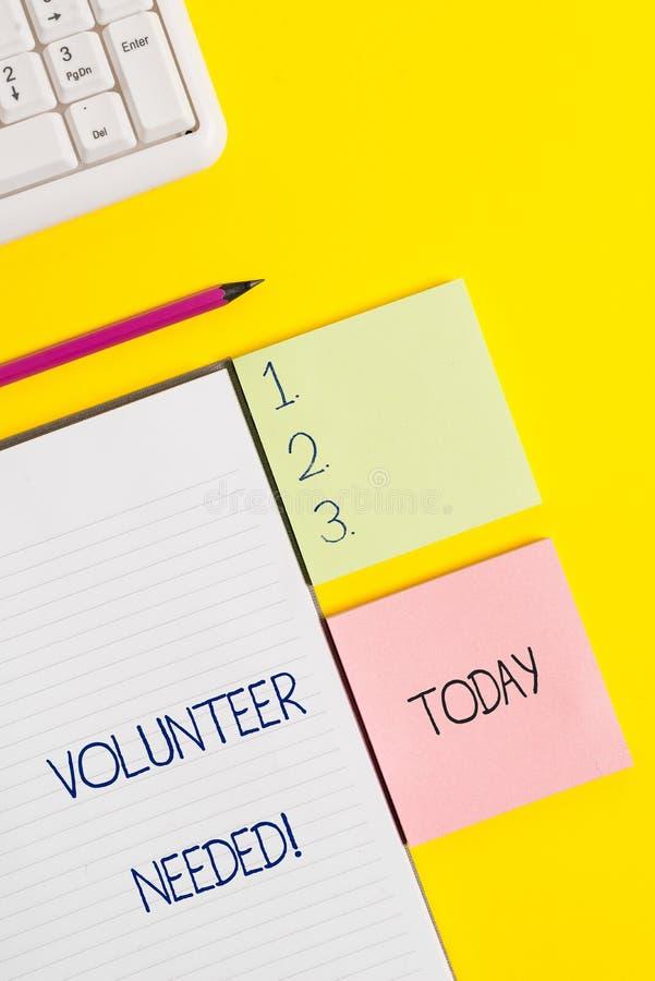 Wortschreibens-Text Freiwilliger ben?tigt Gesch?ftskonzept f?r Bedarfsarbeit f?r Organisation, ohne gezahlt zu werden lizenzfreie stockfotografie