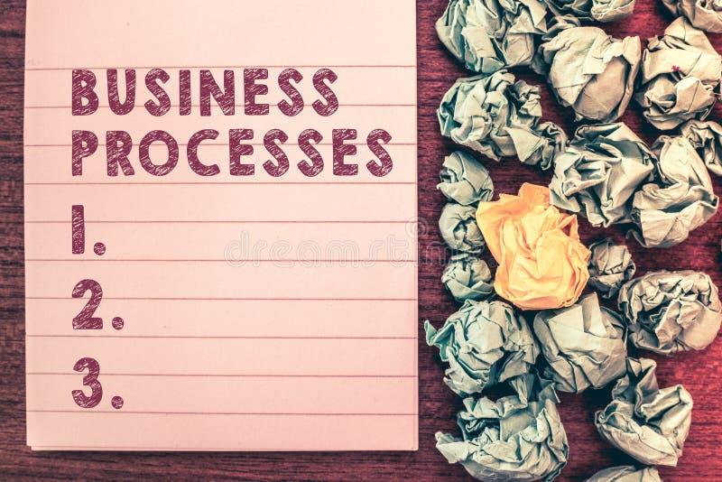 Wortschreibens-Text Geschäftsprozesse Geschäftskonzept für Methodenpraxis bezieht mit ein, wenn es einen Handel laufen lässt lizenzfreie stockfotografie