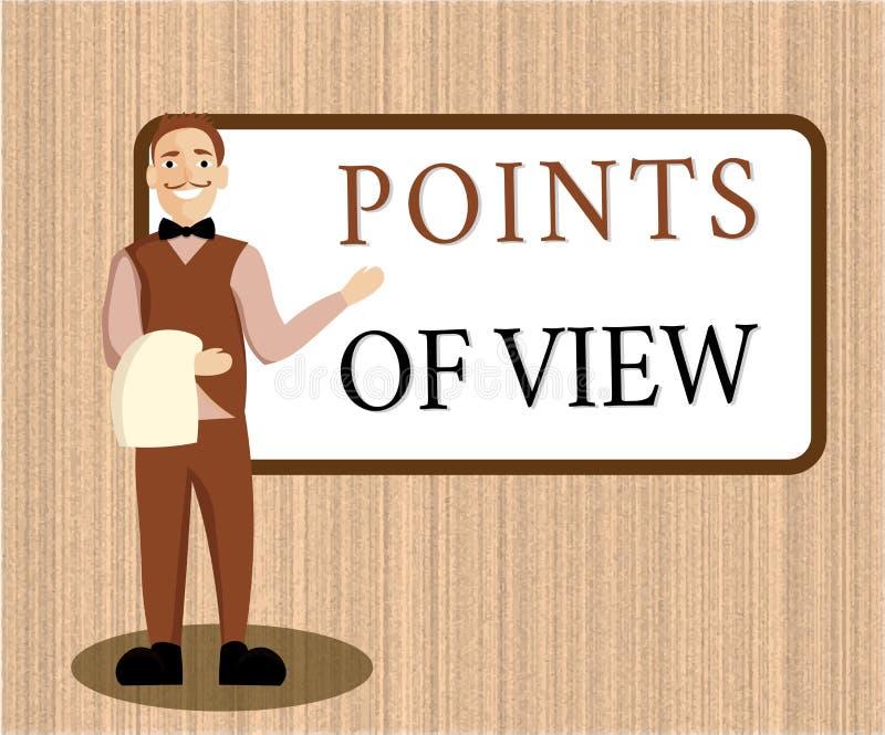 Wortschreibens-Text Gesichtspunkte Geschäftskonzept für Interpretations-Meinungs-Einschätzungs-Einblick einer Einzelperson vektor abbildung
