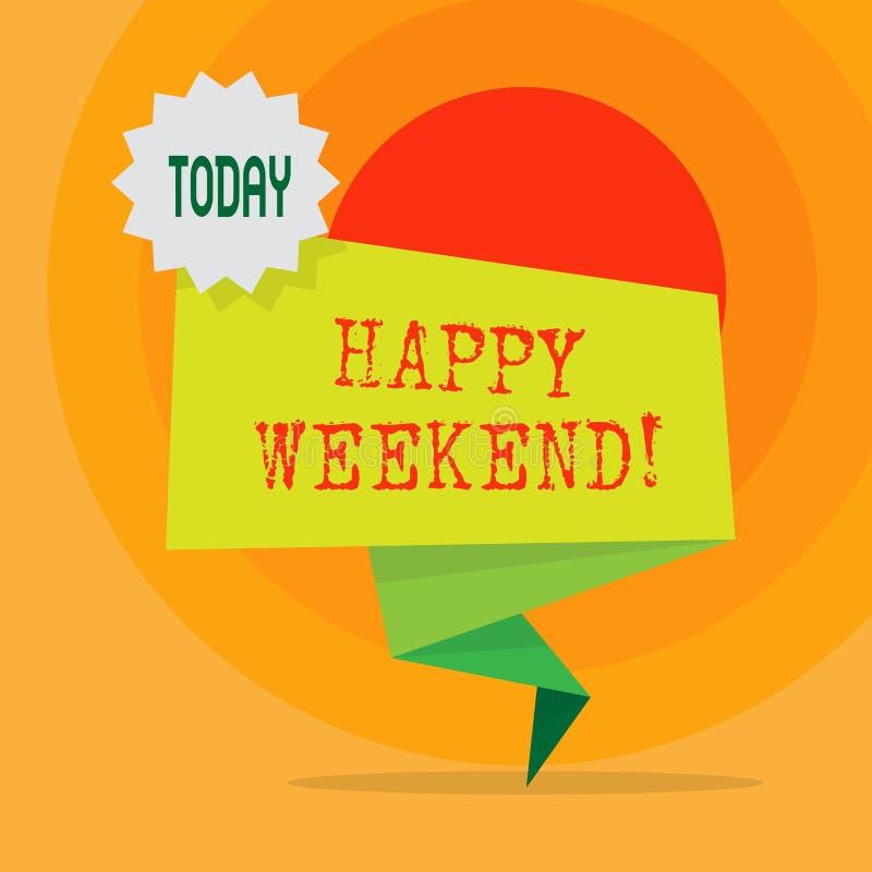 Wortschreibens-Text glückliches Wochenende Geschäftskonzept für nettes etwas ist geschehen, oder sie fühlen sich mit Leben freiem lizenzfreie abbildung