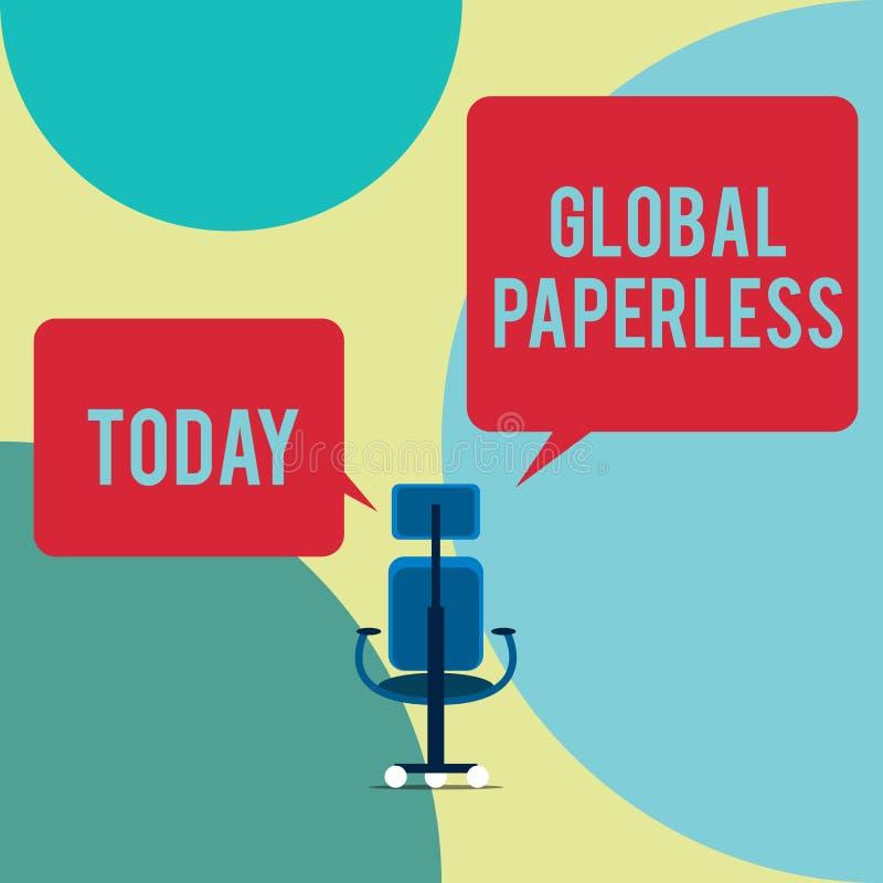 Wortschreibens-Text globales ohne Papier Gesch?ftskonzept f?r das Anstreben Technologiemethoden m?gen E-Mail anstelle des Papiers lizenzfreie abbildung