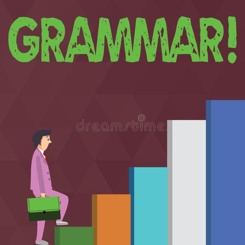 Wortschreibens-Text Grammatik Geschäftskonzept für System und Struktur eines Sprachschreibregel-Geschäftsmannes Carrying a vektor abbildung