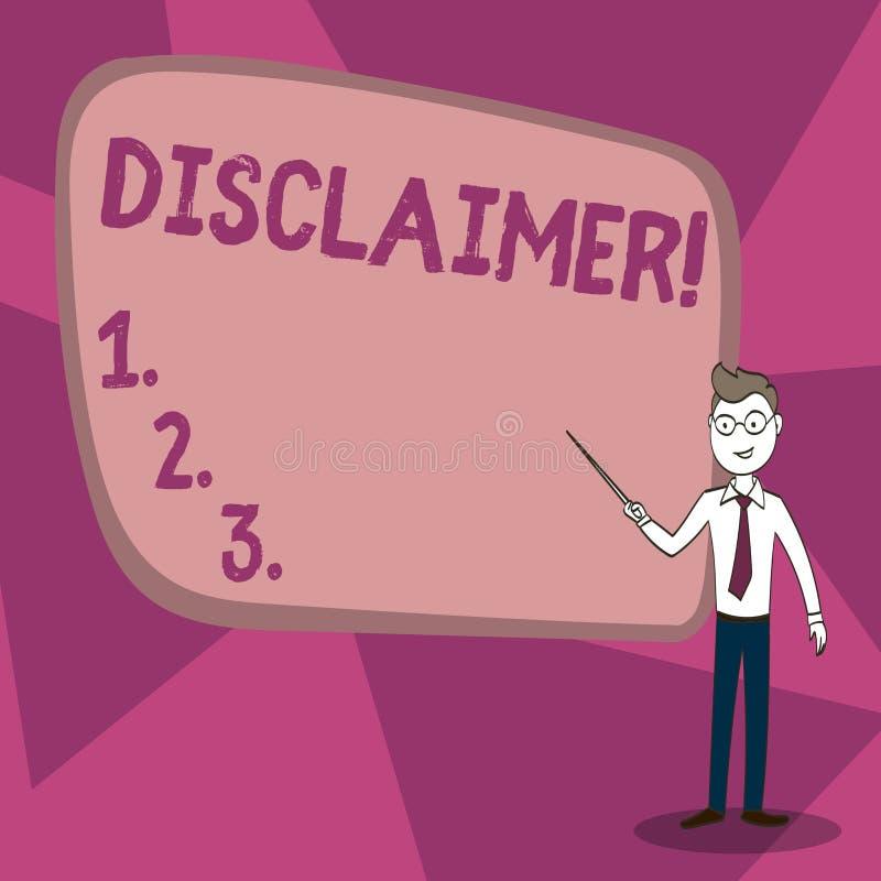 Wortschreibens-Text Haftungsausschluss Gesch?ftskonzept f?r Aussage der allgemeinen Gesch?ftsbedingungen zur Ablehnung des Rechts stock abbildung