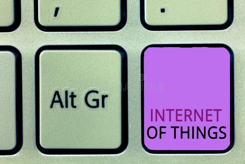Wortschreibens-Text Internet von Sachen Geschäftskonzept für Verbindung von Geräten zum Netz zu den Send-Receivedaten stockfoto