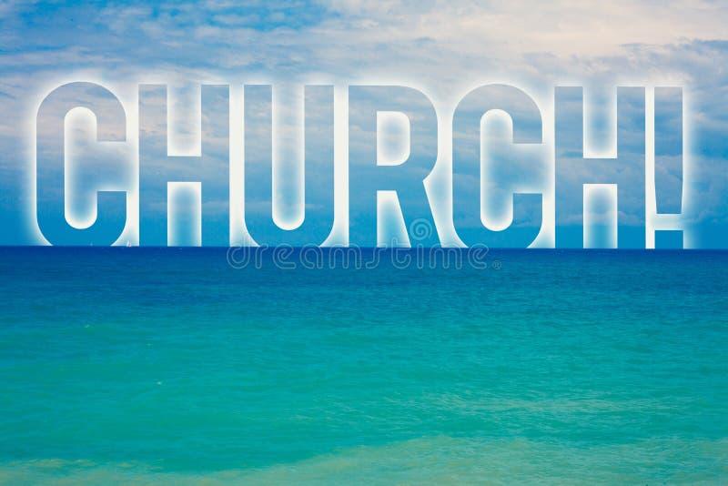 Wortschreibens-Text Kirche Geschäftskonzept für blaues wa Strand des Kathedralen-Altar-Turm-Kapellen-Moscheen-Schongebiet-Schrein lizenzfreie stockbilder