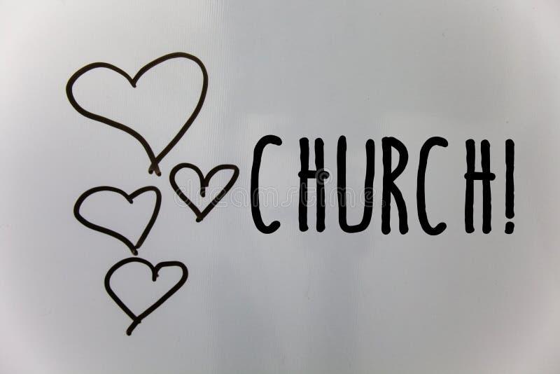 Wortschreibens-Text Kirche Geschäftskonzept für die Kathedralen-Altar-Turm-Kapellen-Moscheen-Schongebiet-Schrein-Synagoge-Tempel- stockfotografie