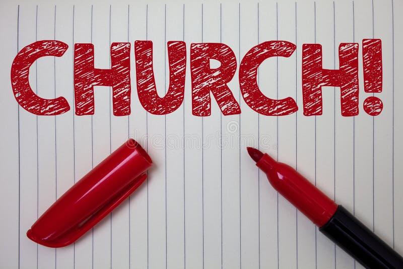 Wortschreibens-Text Kirche Geschäftskonzept für Kathedralen-Altar-Turm-Kapellen-Moscheen-Schongebiet-Schrein-Synagoge-Tempel-Noti lizenzfreie stockfotografie