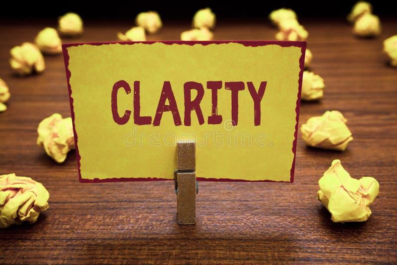Wortschreibens-Text Klarheit Geschäftskonzept für Sein zusammenhängende verständliche verständliche klare Ideen Präzision stockfoto