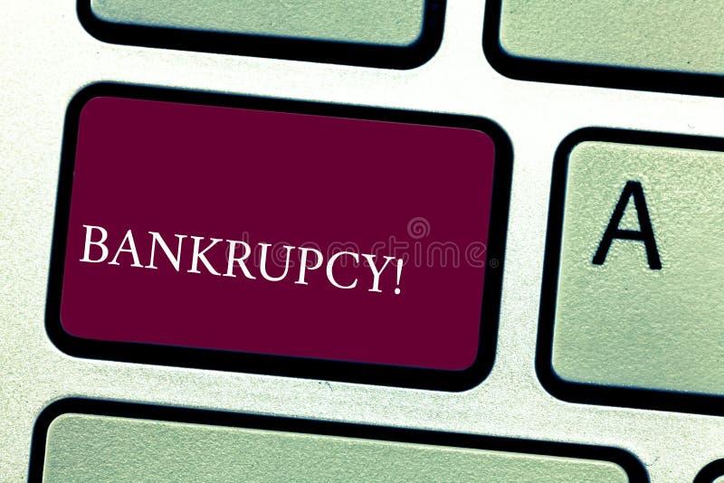 Wortschreibens-Text Konkurs Geschäftskonzept für Firma unter Finanzkrise geht mit sinkenden Umsätzen Bankrott stockfotos