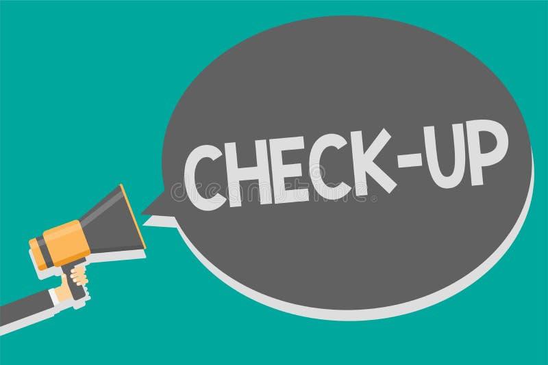 Wortschreibens-Text Kontrolle Geschäftskonzept für körperliches medizinisches oder klinische Untersuchung gemacht durch lo Lautsp stock abbildung