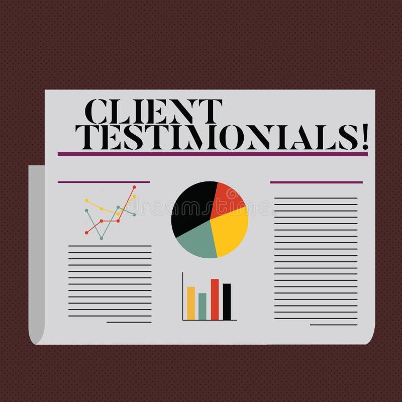 Wortschreibens-Text Kundenmeinungen Geschäftskonzept für Kunden-persönliches Erfahrungs-Bericht-Meinungs-Feedback lizenzfreie abbildung