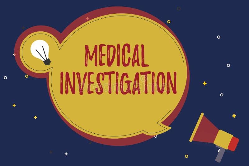 Wortschreibens-Text medizinische Untersuchung Geschäftskonzept für das Handeln von Analyse, um Daten für neue Drogen oder Gerät z stock abbildung