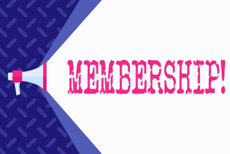 Wortschreibens-Text Mitgliedschaft Geschäftskonzept für Sein Mitgliedsteil einer Gruppe oder Team schließen sich Organisationsfir stock abbildung