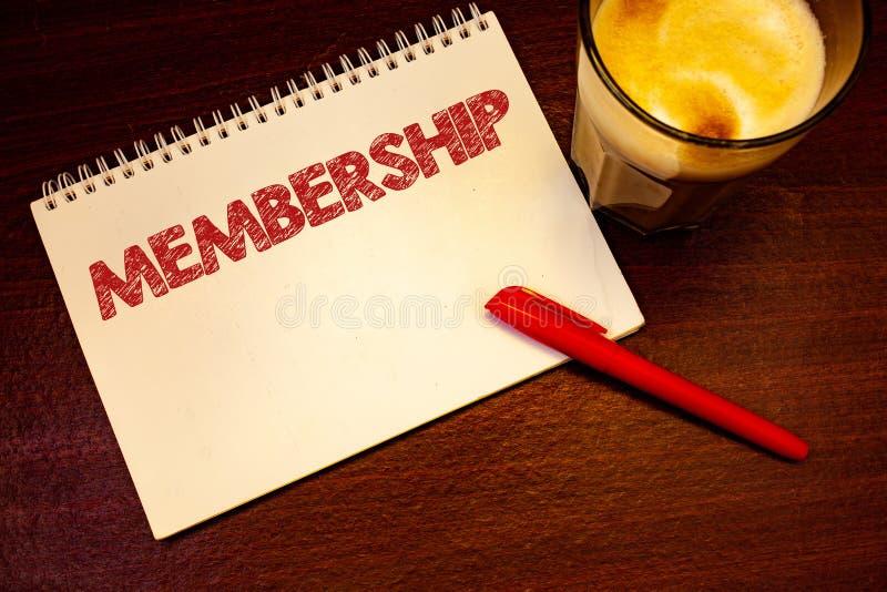 Wortschreibens-Text Mitgliedschaft Geschäftskonzept für Sein Mitgliedsteil einer Gruppe oder Team schließen sich einem organizati stockfoto