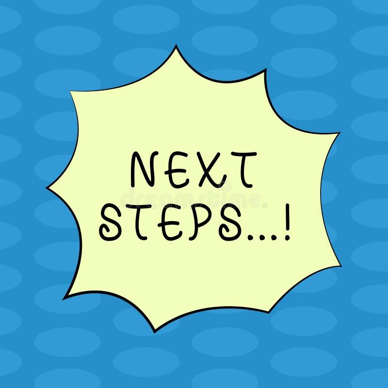 Wortschreibens-Text nächste Schritte Geschäftskonzept für folgenden Bewegungs-Strategie-Plan geben Explosion des Richtungs-Richtl lizenzfreie abbildung