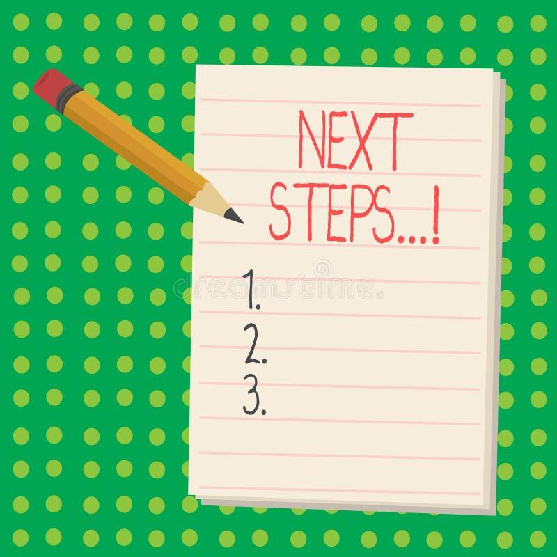 Wortschreibens-Text nächste Schritte Geschäftskonzept für folgenden Bewegungs-Strategie-Plan geben Richtungs-Richtlinie lizenzfreie abbildung