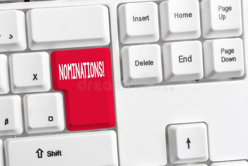 Wortschreibens-Text Nominierungen Geschäftskonzept für Aktion der Ernennung oder des Zustandes, die für weißen PC des Preises ern stockbilder