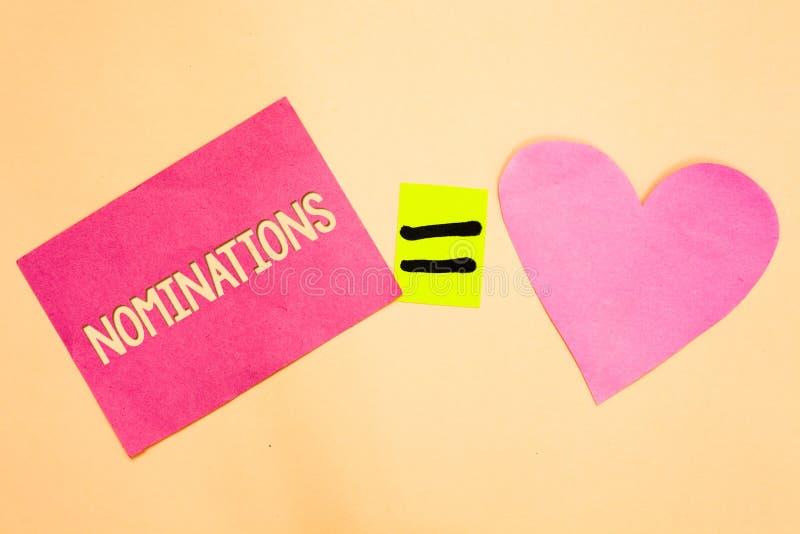 Wortschreibens-Text Nominierungen Geschäftskonzept für Vorschläge von jemand oder etwas für ein Jobposition oder -preis Zeichnung stockbilder