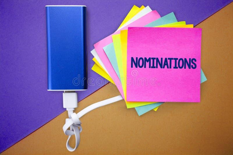 Wortschreibens-Text Nominierungen Geschäftskonzept für Vorschläge von jemand oder etwas für eine Jobposition oder ein prize mehrf lizenzfreies stockbild