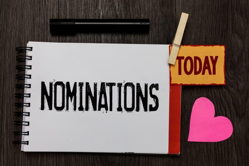 Wortschreibens-Text Nominierungen Geschäftskonzept für Vorschläge von jemand oder etwas für eine Jobposition oder prize ein Arbei lizenzfreies stockbild