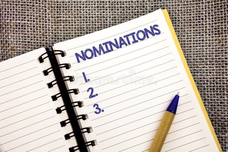 Wortschreibens-Text Nominierungen Geschäftskonzept für Vorschläge von jemand oder etwas für einen Jobposition oder -preis Kugelsc lizenzfreies stockbild