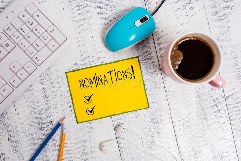 Wortschreibens-Text Nominierungen Gesch?ftskonzept f?r Aktion der Ernennung oder des Zustandes, die f?r Preis ernannt werden stockbild