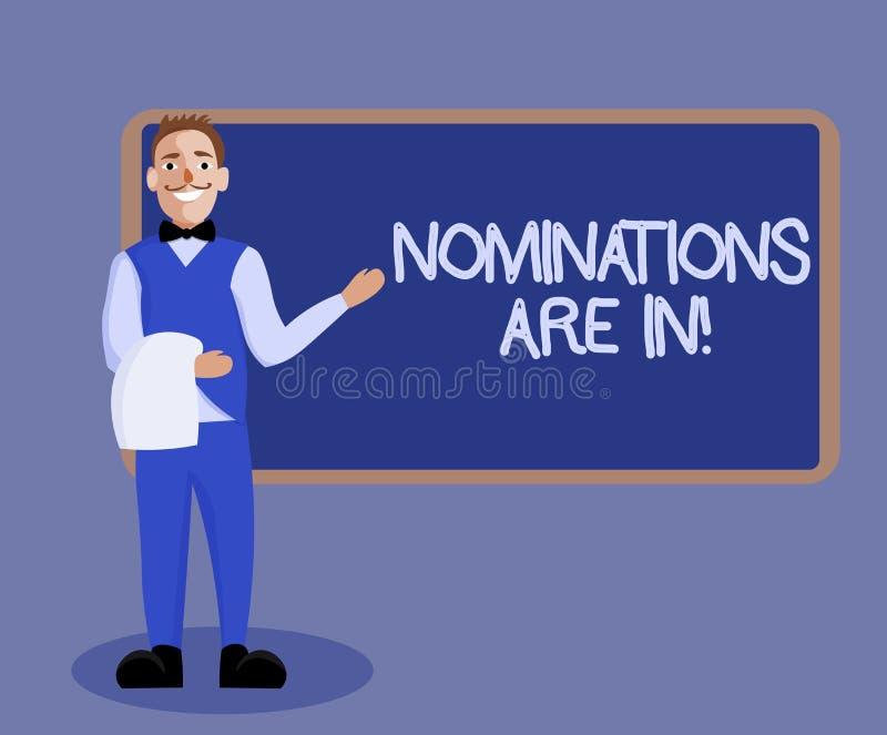 Wortschreibens-Text Nominierungen sind herein Geschäftskonzept für jemand formal wählen offizieller Kandidat für einen Preis vektor abbildung