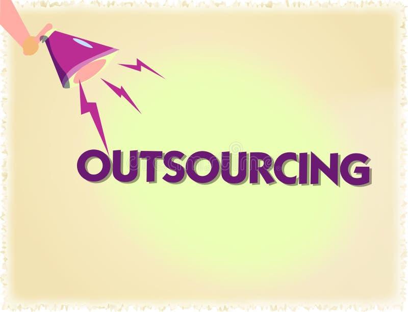 Wortschreibens-Text Outsourcing Geschäftskonzept für Obtain Waren oder Service durch Vertrag von einem externen Lieferanten vektor abbildung