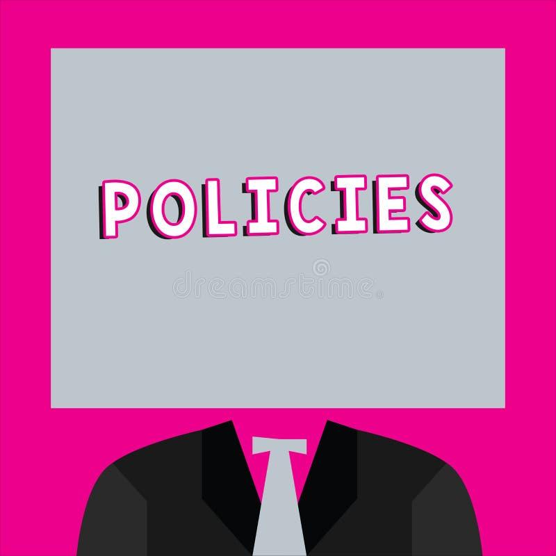 Wortschreibens-Text Politik Geschäftskonzept für den Kurs oder Prinzip der Aktion angenommen oder durch Organisation vorgeschlage lizenzfreie abbildung
