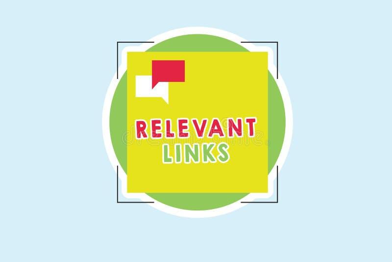 Wortschreibens-Text relevante Links Geschäftskonzept für bedeutende Standorte für ein bestimmtes Thema verband lizenzfreie stockbilder