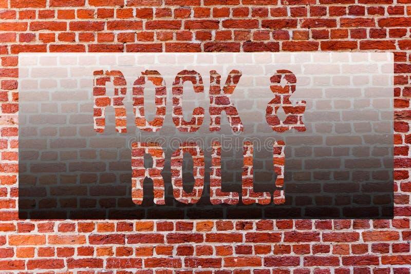 Wortschreibens-Text Rock-and-Roll Geschäftskonzept für musikalische Genre-Art populären Tanzmusik schweren geschlagenen soliden Z stockbild