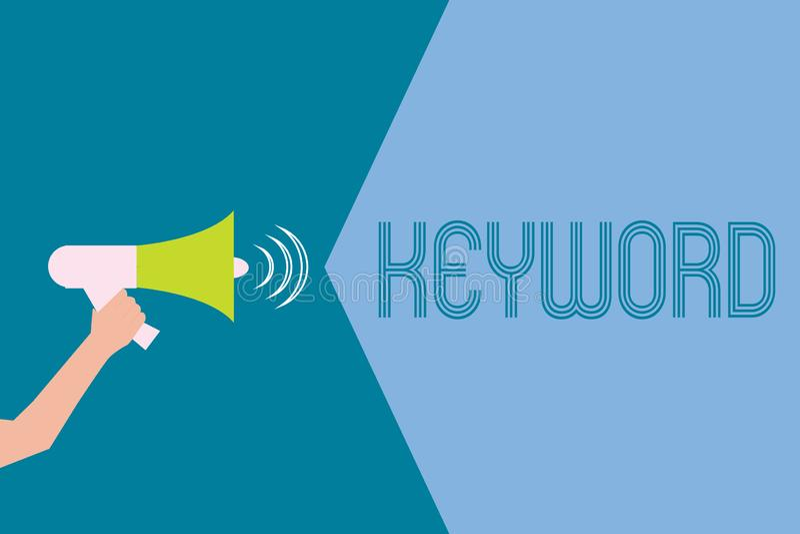 Wortschreibens-Text Schlüsselwort Geschäftskonzept für Wort-Konzept mit wichtiger Marketingstrategie der hohen Bedeutung stock abbildung