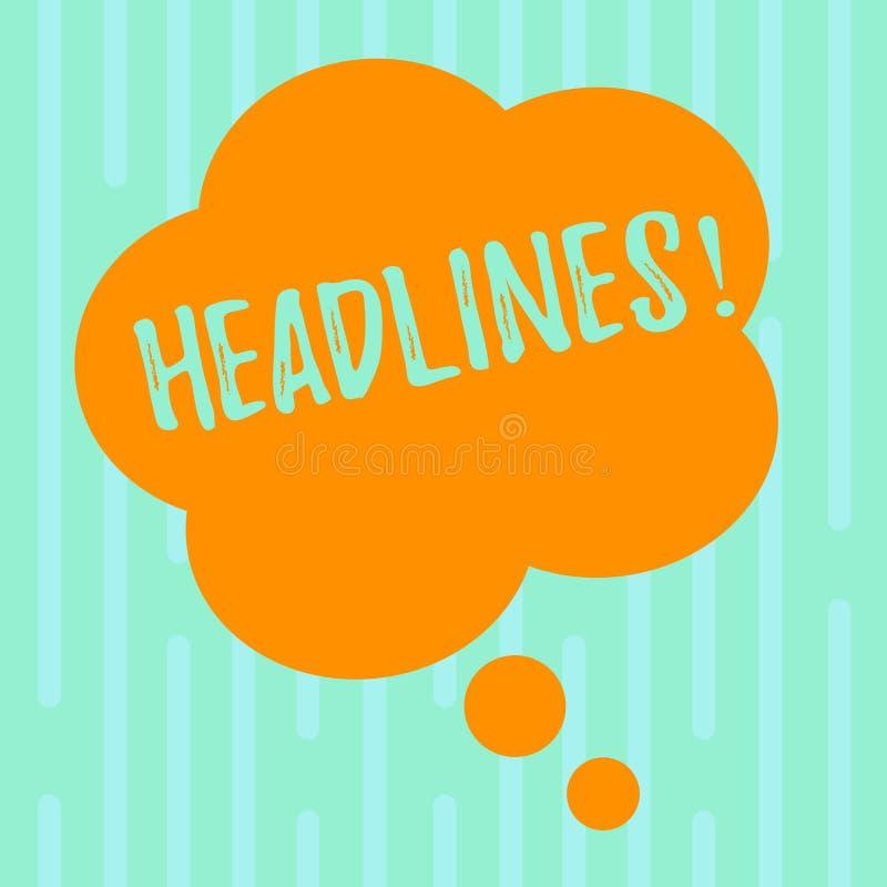 Wortschreibens-Text Schlagzeilen Geschäftskonzept für die Überschrift an der Spitze eines Artikels in der Blumenform Zeitung frei lizenzfreie abbildung