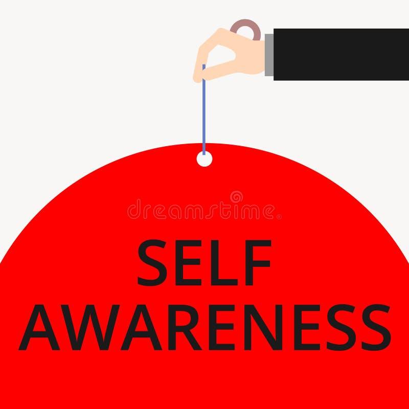 Wortschreibens-Text Selbstbewusstsein Geschäftskonzept für Bewusstsein eines Demonstrierens in Richtung zu einer Situation oder vektor abbildung