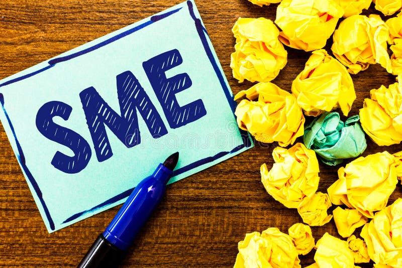 Wortschreibens-Text Sme Geschäftskonzept für Firma mit dem kleinen Mittelbetrieb von nicht mehr als 500 Angestellten lizenzfreie stockbilder
