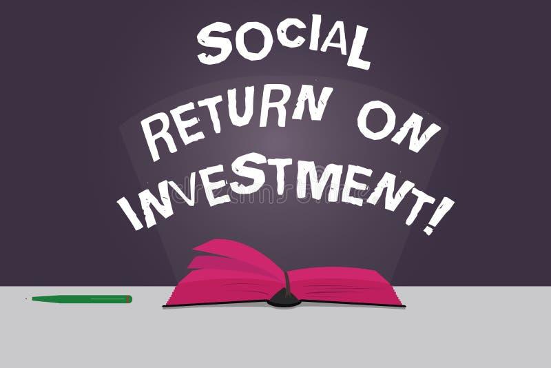 Wortschreibens-Text Sozialanlagenrendite Geschäftskonzept für Invest Teil des Einkommens in den Spenden färben Seiten stock abbildung