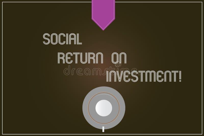 Wortschreibens-Text Sozialanlagenrendite Geschäftskonzept für Invest Teil des Einkommens in der Spenden Kaffeetasse stock abbildung