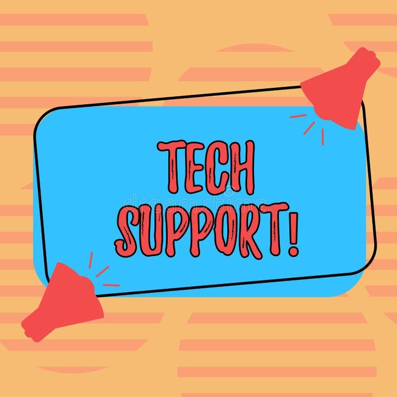 Wortschreibens-Text technische Unterstützung Geschäftskonzept für die Hilfe gegeben durch Techniker Online oder Megaphon des Call lizenzfreie abbildung