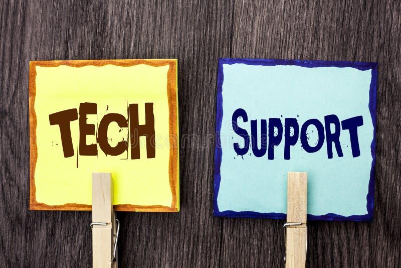 Wortschreibens-Text technische Unterstützung Geschäftskonzept für die Hilfe gegeben vom Techniker Online oder Call-Center-Kundend lizenzfreies stockbild