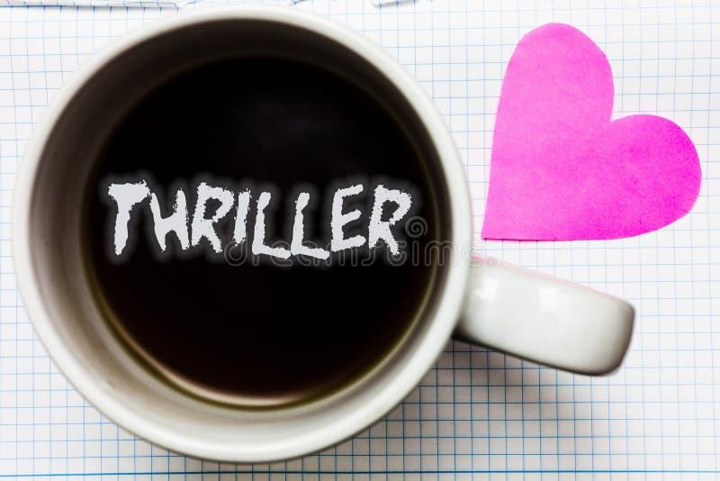 Wortschreibens-Text Thriller Geschäftskonzept für das Kühlen von schrecklichen Momenten in der Lebenfilm- und -filmkategorie über lizenzfreie stockfotografie