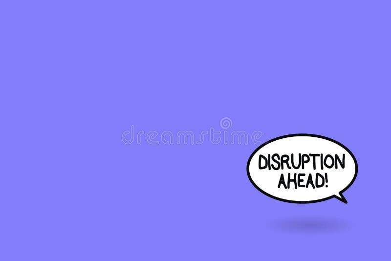 Wortschreibens-Text Unterbrechung voran Geschäftskonzept für Umwandlung, die durch neue Technologie verursacht wird stock abbildung