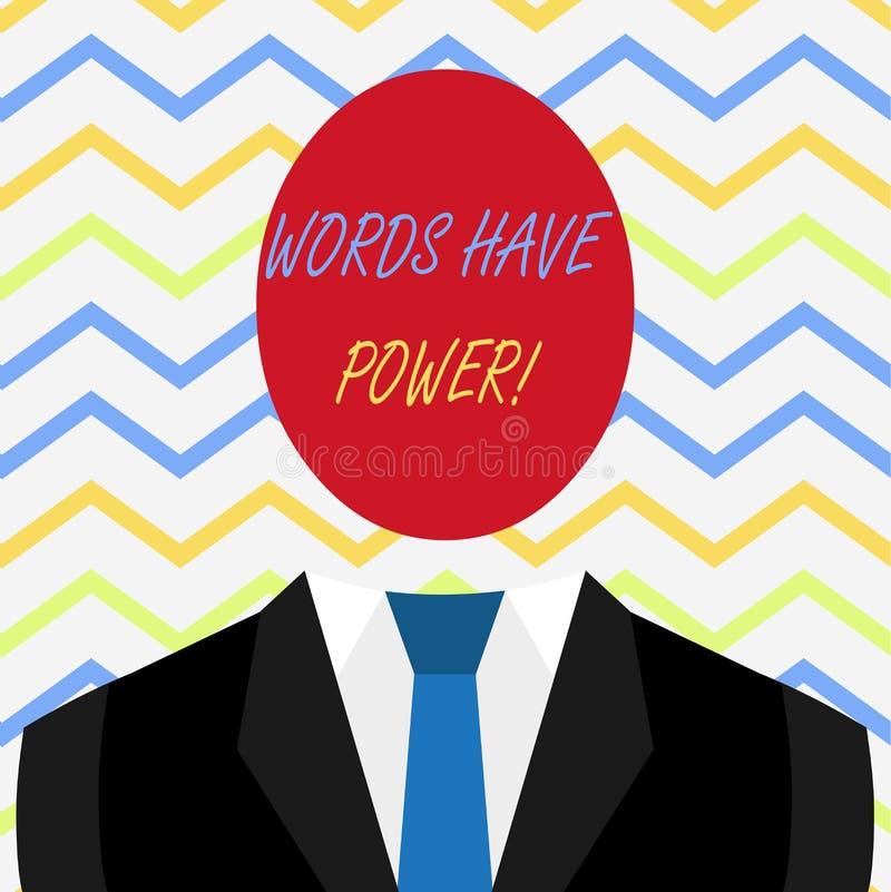 Wortschreibens-Text W?rter haben Energie Gesch?ftskonzept f?r, da sie F?higkeit haben zu helfen, die Schmerzen zu heilen oder jem stock abbildung