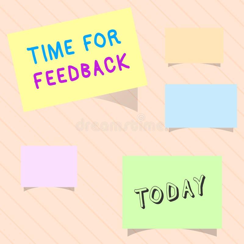 Wortschreibens-Text Zeit für Feedback Geschäftskonzept für BedarfsAntwort oder geben Kritiker auf etwas Bewertung stock abbildung