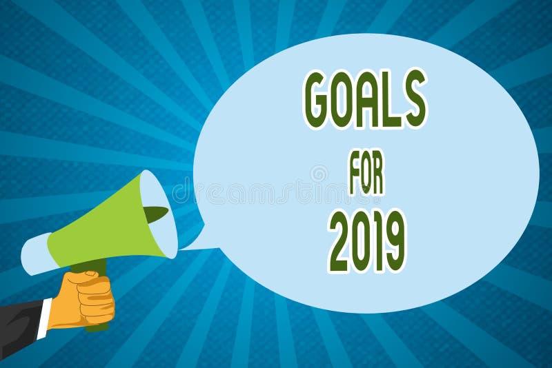 Wortschreibens-Text Ziele für 2019 Geschäftskonzept für die folgenden Sachen, die Sie im Jahre 2019 haben und erzielen möchten stock abbildung